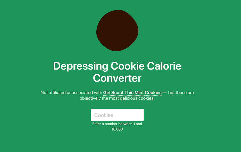 Depressing Cookie Calorie Converter