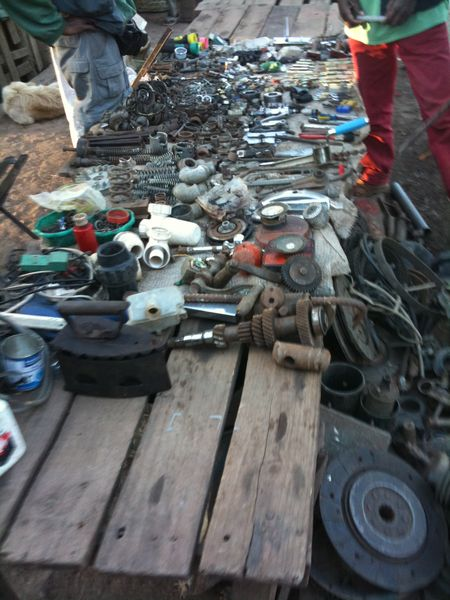 Parts for sale in a market of Fianarantsoa, Madagascar.