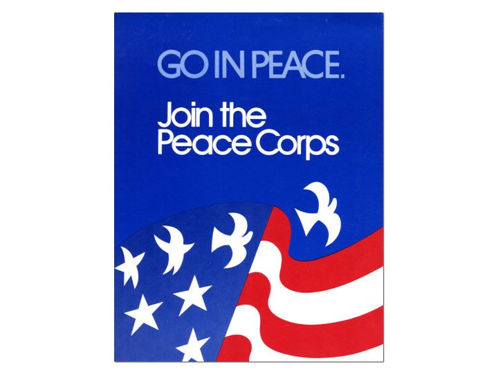 "1970s Peace Corps poster, ""Go in Peace."""